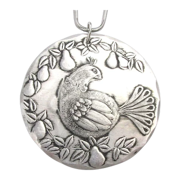 Wendell August Hammered Aluminum Pendant Ornament Partridge In A Pear Tree Necklace