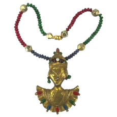 Real Gemstone Necklace w/ Removable Asian Gal Pin Brooch