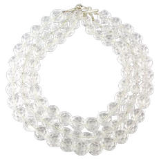 Big Heavy 3 Strand Crystal 16mm Beads Necklace Jumbo Rocks