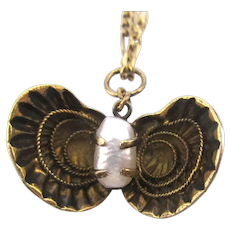 Victorian Gold on Sterling CLAM Enamel Charm Necklace w/ Pearl
