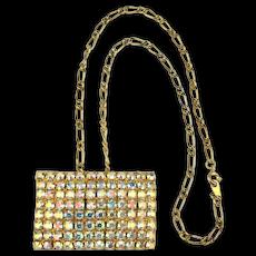 Vintage MUSI Shoe Clip Pendant Necklace Aurora Borealis Rhinestones