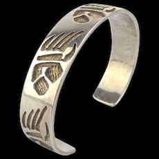 Vintage HOPI Sterling Silver Bear Claw Cuff Bracelet