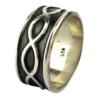 Big Sterling Silver Ring Band Infinity Chain Size 13