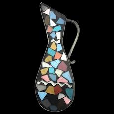 Modernist Sterling Silver Mosaic Inlay Jug Pitcher Pin Brooch Pendant