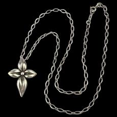 Vintage Sterling Silver Flower Cross on Tiffany 925 Chain