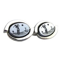 Vintage Carved Hematite Golfer Cufflinks of the Golf Link