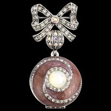 Joan Rivers Enamel Crystal Rhinestone Pin w/ Dangle Locket