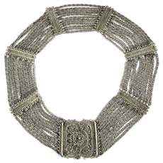 Rice-Weiner Indo-Craft Etruscan Style Cannetille Necklace 1940s