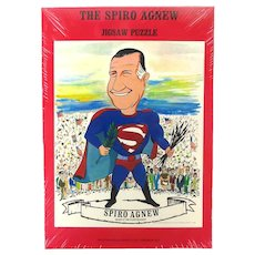1970 VP Spiro Agnew as Superman Jigsaw Puzzle - Mint in Box Political