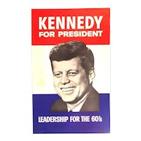 Original 1960 Campaign Poster KENNEDY FOR PRESIDENT - Union Label