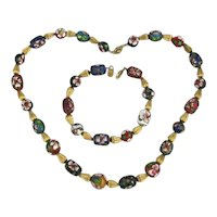 Vintage Enamel Bead Necklace Bracelet Set
