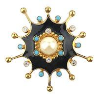 Big Vintage Jose Maria Barrera For Avon Pin Pendant Jeweled Burst