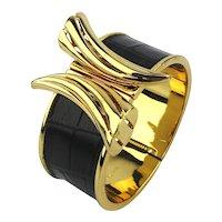 Designer ZOE Wide Snakeskin Gilt Clamper Bracelet