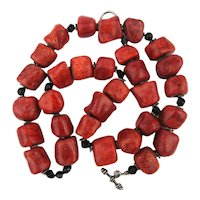 Chunky Red Coral Bead Necklace w/ Sterling Clasp