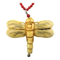 Hand Carved Bone Dragonfly Pendant on Red Coral Bead Necklace