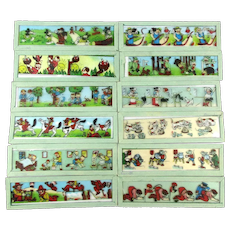 Set of 12 Germany Magic Lantern Cartoon Glass Slides - Mickey Mouse