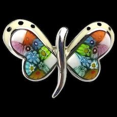 Designer Sterling Silver Ring Millefiori Murano Art Glass Butterfly