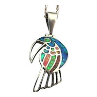 TAXCO 950 Silver Bird Pendant Necklace w/ Inlay
