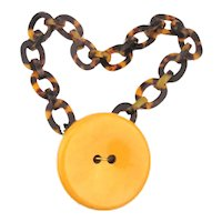 Big 3 Inch Bakelite Button Pendant Lucite Necklace