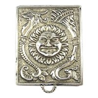 Miniature Sterling Silver Pill Box Pendant Sun Face - Phoenix Bird Heavy Engraved