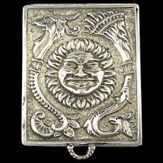 Miniature Sterling Silver Pill Box Pendant Sun Face - Phoenix Bird Heavy Engraved
