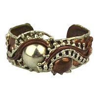 Brutalist Mexican Mixed Metal Cuff Bracelet A Roller Coaster