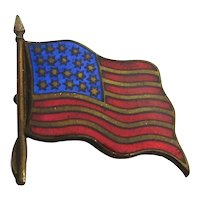 Small Old WW1 Era U.S. Flag Pin Enameled and Adorable