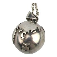 Mexican World Globe Sterling Silver Pendant Necklace