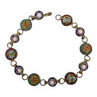 Old Italian Micro Mosaic Tile Link Bracelet Wee Flowers
