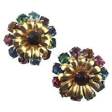 Vintage BARCLAY Multi Color Rhinestone Clip Earrings