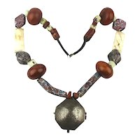 Old Middle East Ethnic Necklace - Sterling Box - Faturan Bakelite African Venetian Glass Trade Beads