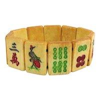 Old Chinese Hand Carved Bone Mah Jong Tile Stretch Bracelet