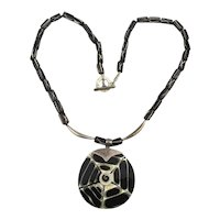 Lucite Shell Sterling Silver Spider Web Pendant Necklace