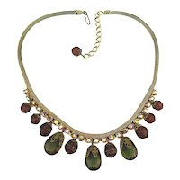 Oldie Dangly AB Crystal Glass Bead Necklace