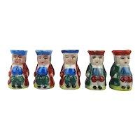 Original Box of 5 Miniature Toby Mugs Hand-Painted
