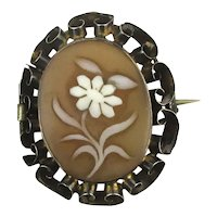 Fine Victorian Carved Shell Cameo Flower Pin Brooch c1880