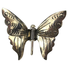 Vintage Mexican Sterling Silver Clip-On Butterfly Pin Clip