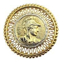 Large Vintage Goldtone GLADIATOR Pin Brooch