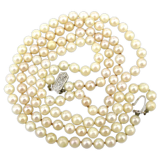 Classic Two Strand Real Pearl Necklace 14K Gold Clasp
