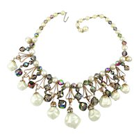 Delightful Vintage Necklace - Faux Pearls AB Crystals Gilt Thingies
