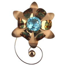 1940s Large Sterling Silver TRUART Flower Pin w/ Aqua Glass