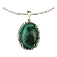 Sterling Silver Necklace - Malachite Stone Pendant on Omega Chain