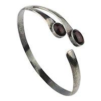 Sterling Silver Upper Arm Bracelet w/ Garnet Stones