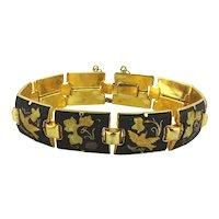 Vintage Damascene Etched Bird Bracelet Gold Inlay on Black Niello