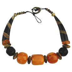 Vintage Ethnic Mixed Natural Bead Necklace Big Amber - Horn - Bone - Wood