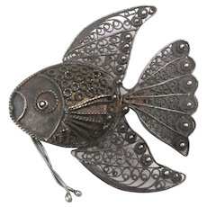 Old Dark Filigree Sterling Silver FISH Pin