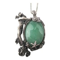 Signed Sterling Silver Mermaid Guards Her Jade Pendant Necklace