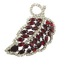 Large Red n White Rhinestone Leaf Pin