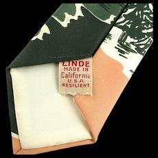 Vintage 1940s California LINDE Resilient Necktie Tie - Big Sur