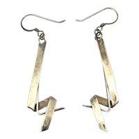Modernist Ziggy-Zaggy Earrings Sterling Silver Dangles